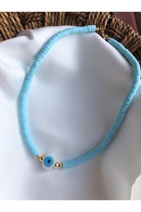Neowise Accessories Mavi Beyaz Nazar Boncuklu Fimo Kolye