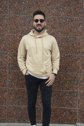 HUMEN Erkek Krem Uzun Kollu Kapüşonlu Üst Kanguru Cepli Sweatshirt