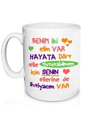 HT LIFE Benim Iki Elim Var Yazılı Seramik Çay Kahve Kupası