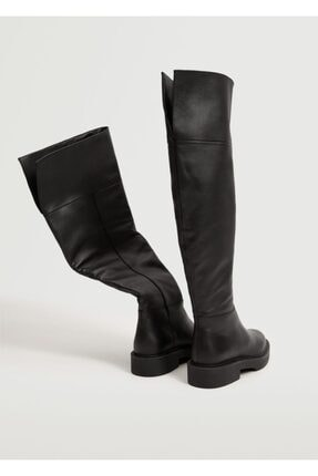 MANGO Woman Kadın Siyah Diz Üstü Deri Çizme