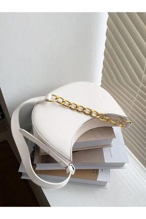 Rimense Kadın Beyaz Fermuarlı Astarlı Ayarlanabilir Askılı Çanta