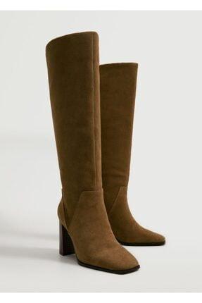MANGO Woman Diz Üstü Deri Çizme