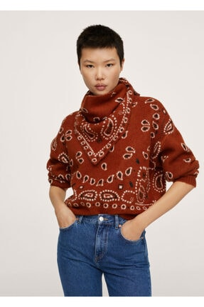 MANGO Woman Kadın Kahverengi Bandanalı Örgü Kazak