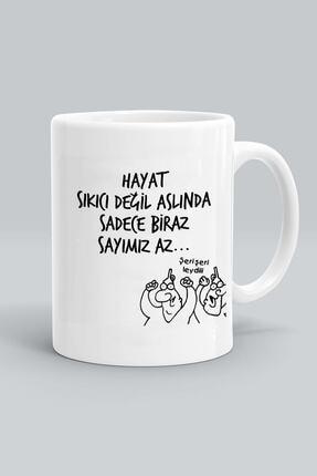 kedili dükkan Karikatür Baskılı Beyaz Kupa Bardak