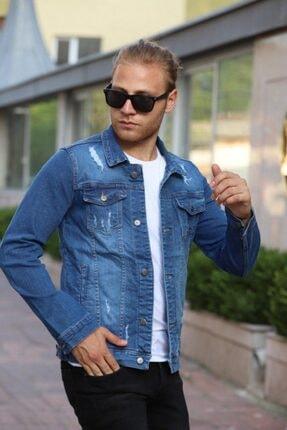 EnTiti Mavi Erkek Slim Fit Yırtıklı Denim Cekett