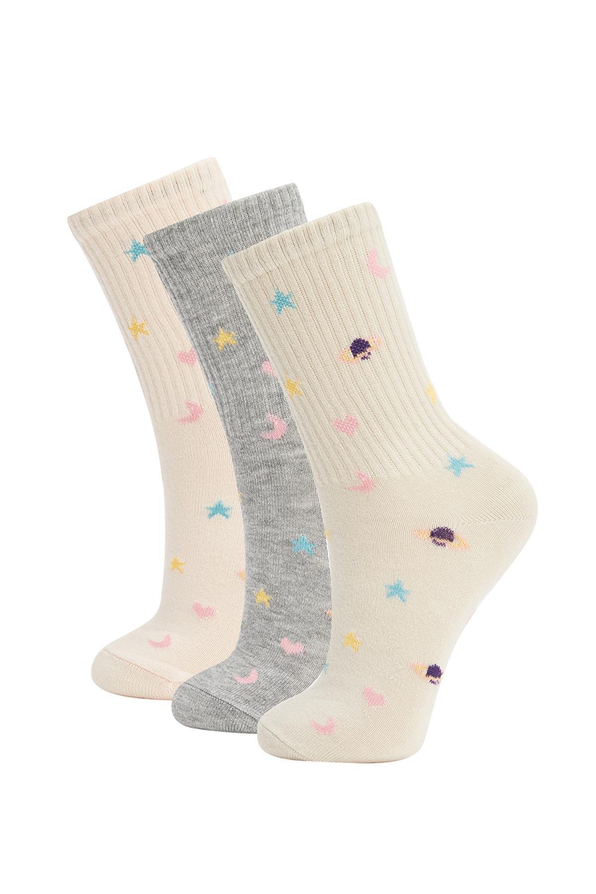 DeFacto Kadın Çok Renkli Desenli 3'Lü Uzun Çorap V5050AZ21WN