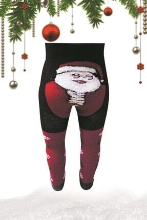 bistil Kız Erkek Bebek Yeni Yıl Yılbaşı Noel Baba Desenli Külotlu Çorap