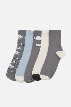 TRENDYOLMİLLA Gri Bulutlu 5'li Paket Çorap THMAW22CO0044