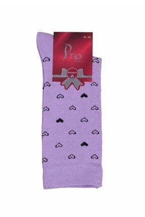 ekolpazar Defne Kalp Desenli Penye Çorap 25602 Lila