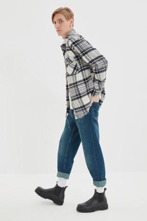 TRENDYOL MAN Vizon Erkek Regular Fit Gömlek Yaka Çift Cep Kapaklı Oduncu Ekose Gömlek TMNAW22GO1250