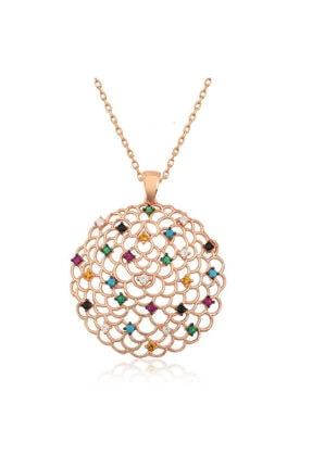 Gumush Gümüş Geometrik Desenli Madalyon Kolye