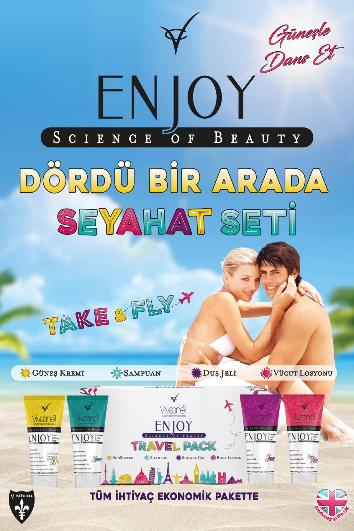Enjoy Travel Pack Spf 50+ Güneş Kremi & Şampuan & Duş Jeli & Vücut Losyonu 4 x 100 ml 5060409581925 2