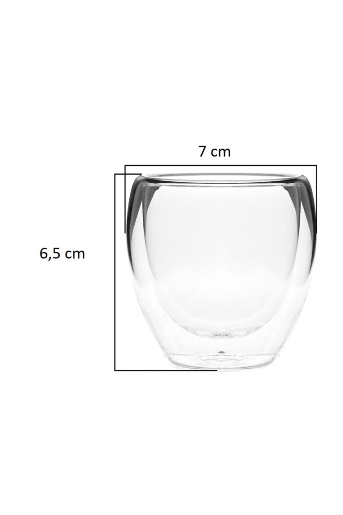 TROY Çift Cidarlı Bardak Double Wall Glass Espresso Bardağı 2'li Set 80 ml 2,7 Oz 2
