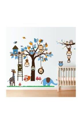 cosy home gift Çocuk Ve Bebek Odası Sevimli Neşeli Hayvanlar  Fil Zürafa Ürün Duvar  Süsleme 190x90 cm