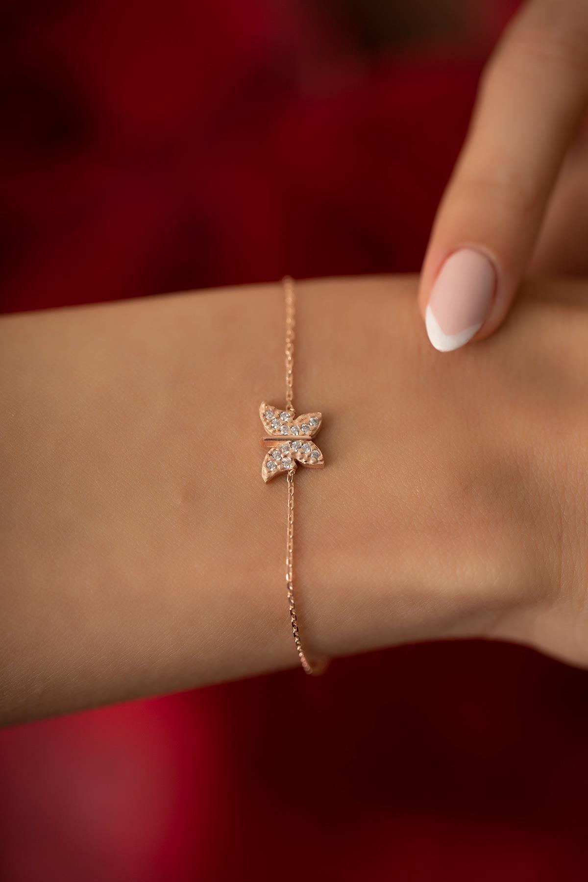 İzla Design Kadın Kelebek Model Rose Kaplama Gümüş İtalyan Bileklik PKT-TLYSLVR0854
