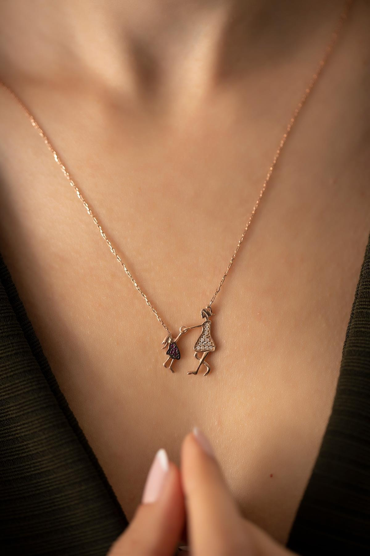 İzla Design Kadın Anne ve Çocuk Model Rose Kaplama Gümüş İtalyan Kolye PKT-TLYSLVR0815 2
