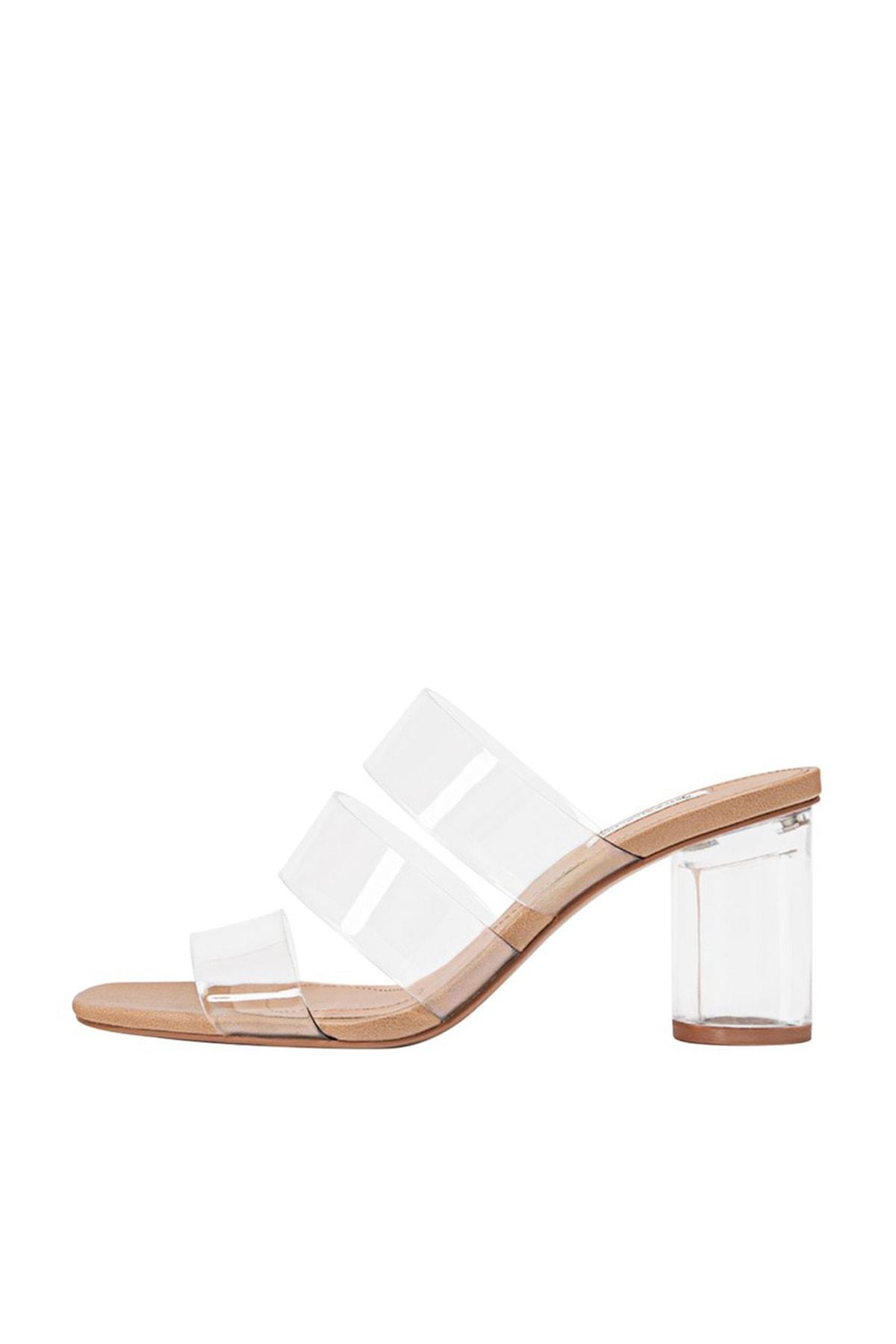 Stradivarius Kadın Kum Rengi Vinil Topuklu Sandalet 19217570 1