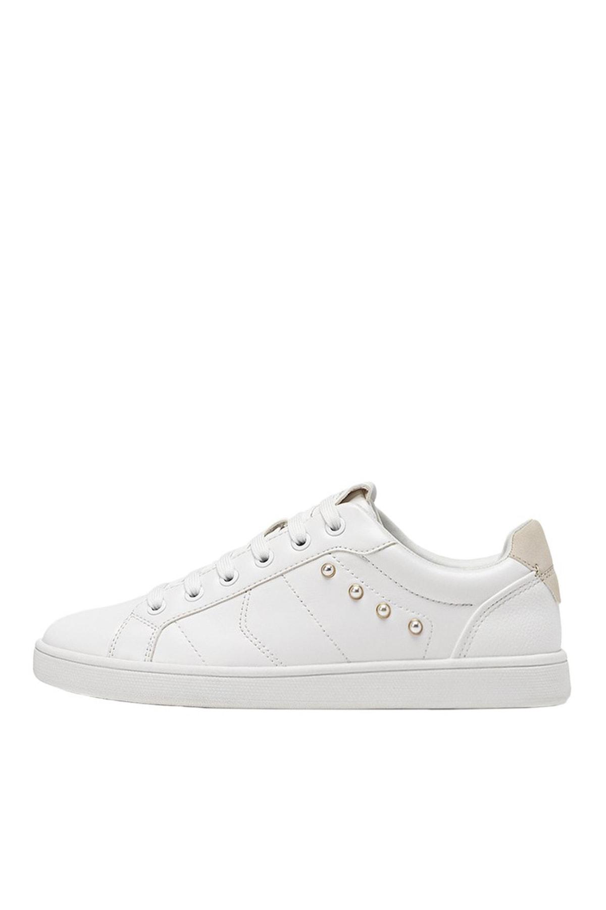 Stradivarius Kadın Beyaz Suni Inci Boncuklu Beyaz Spor Ayakkabı 19005570