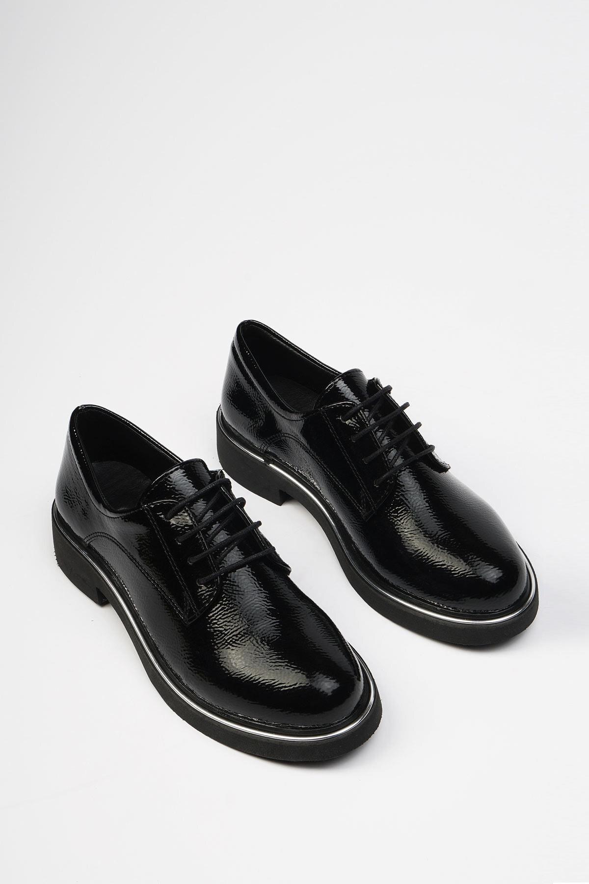 Marjin Siyah Rugan Kadın Terva Günlük Oxford Ayakkabı 19K0140MC5040 1