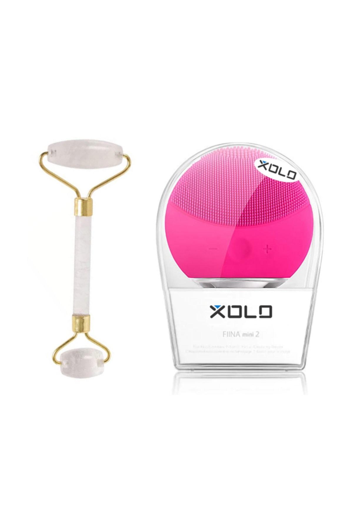 xolo Şarj Edilebilir Fuşya Yüz Temizleme Cihazı + Jade Roller Beyaz 2'li Yeşim Taşı Masaj Aleti 1