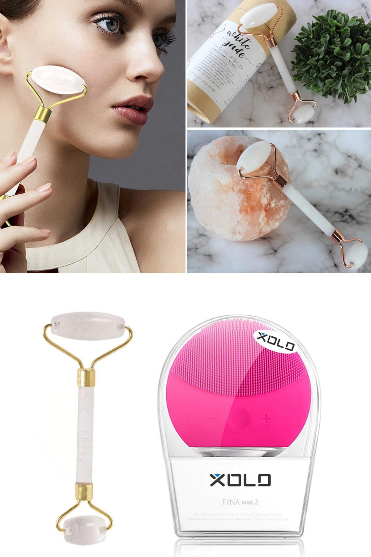 xolo Şarj Edilebilir Fuşya Yüz Temizleme Cihazı + Jade Roller Beyaz 2'li Yeşim Taşı Masaj Aleti 2