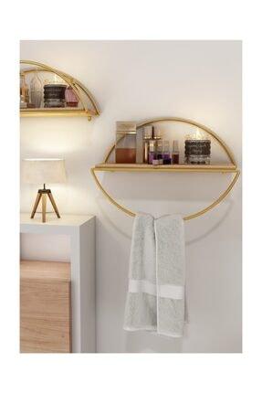 Bino Duvar Rafı Dekoratif Mutfak Banyo Altın Elips Kitaplık 3 Lü Set