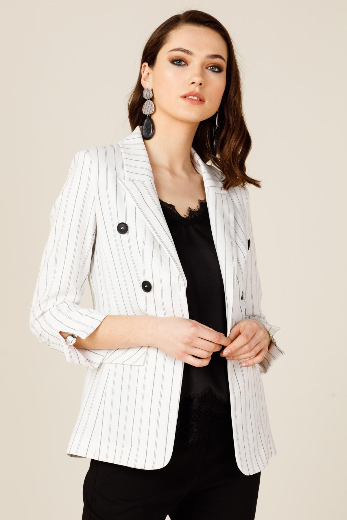 Ekol Kadın Ekru Blazer Ceket 20Y.EKL.CKT.03062.1 1