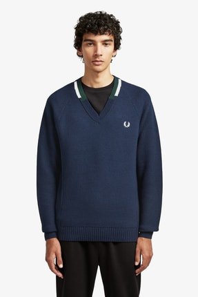 Fred Perry Broken Tipped V Neck Erkek Triko K7525 Lacivert
