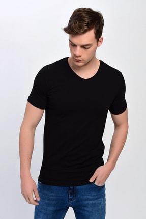 DYNAMO Erkek Siyah V Yaka %100 Pamuk Basic T-shirt T197
