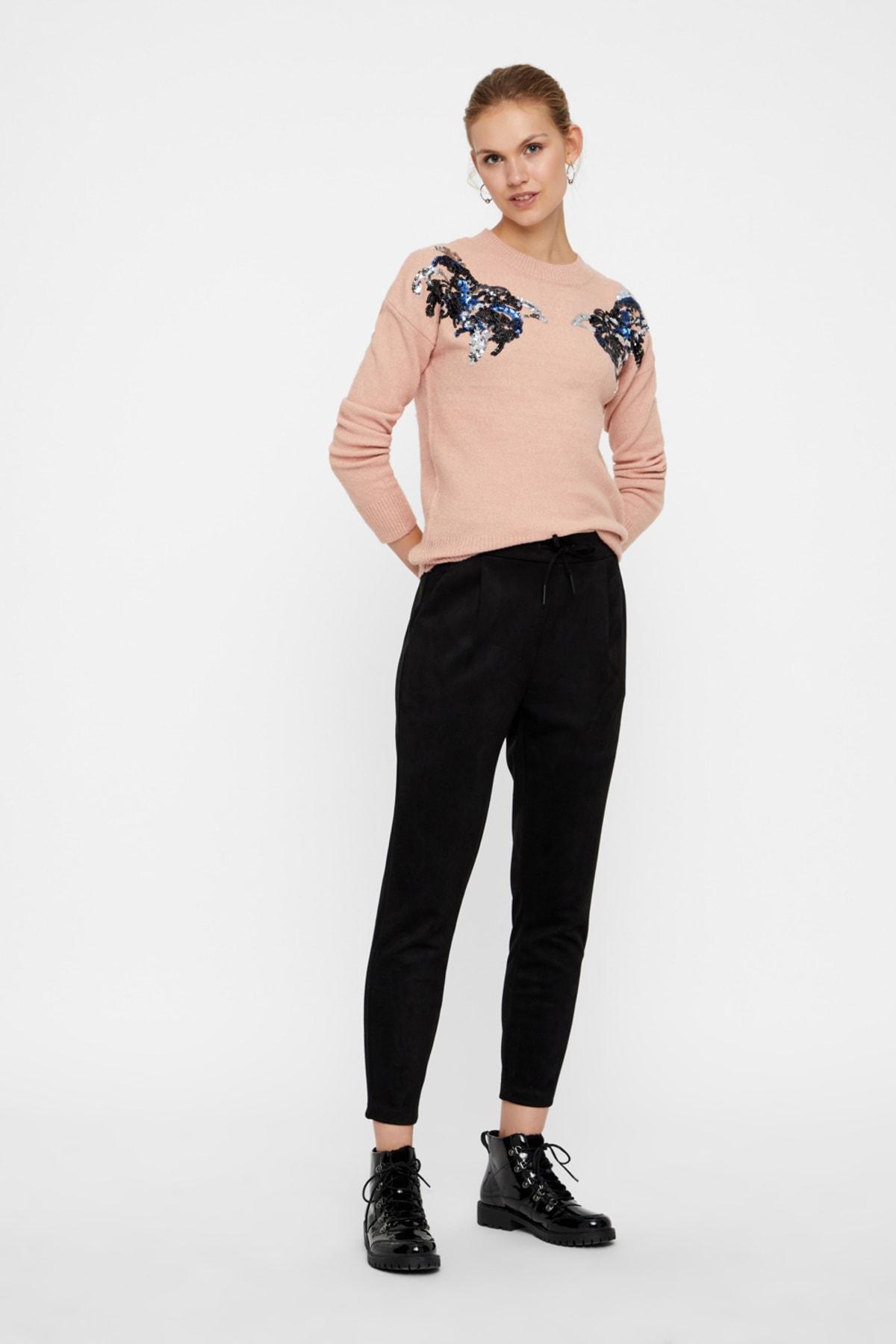 Vero Moda Kadın Siyah Beli Lastikli Bilekte Süet Pantolon 10204640 VMEVA 1