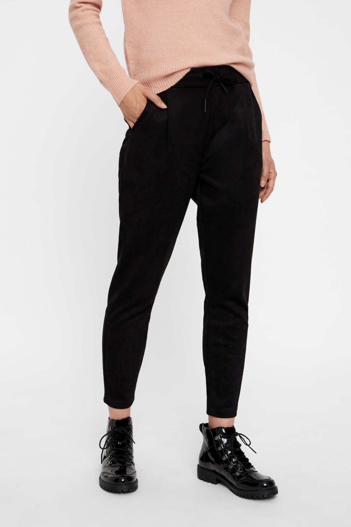 Vero Moda Kadın Siyah Beli Lastikli Bilekte Süet Pantolon 10204640 VMEVA 2