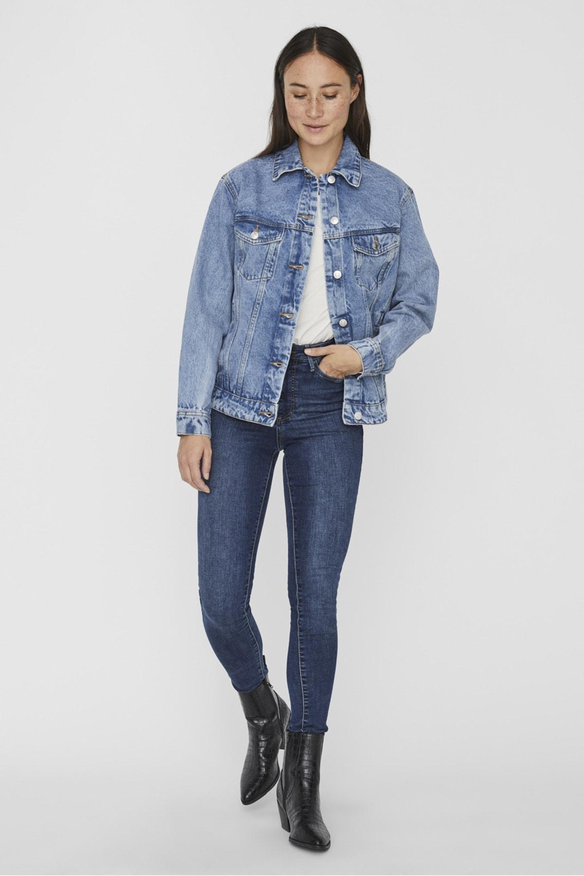 Vero Moda Kadın Mavi Bol Kesim Denim Ceket 10226052 VMKATRINA 1