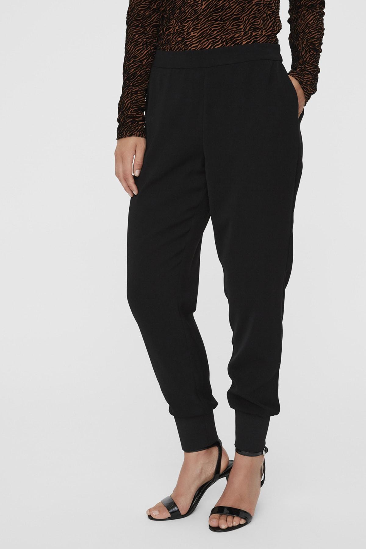 Vero Moda Kadın Siyah Paçası Kalın Ribanalı Beli Lastikli Pantolon 10222221 VMJOLLY 2