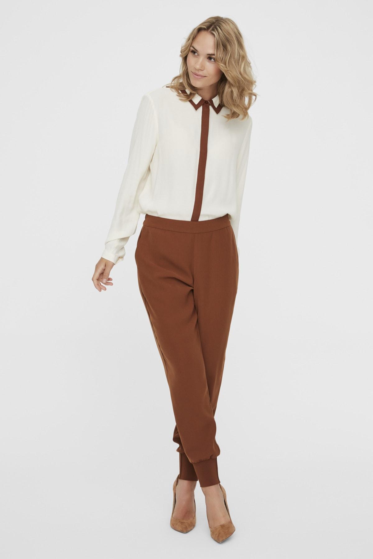 Vero Moda Kadın Tarçın Paçası Kalın Ribanalı Beli Lastikli Pantolon 10222221 VMJOLLY 1