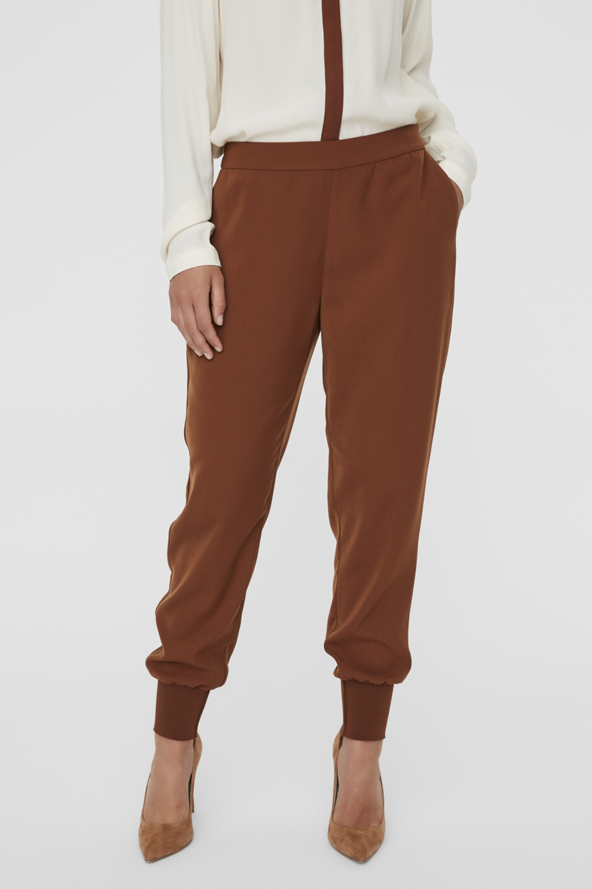 Vero Moda Kadın Tarçın Paçası Kalın Ribanalı Beli Lastikli Pantolon 10222221 VMJOLLY 2