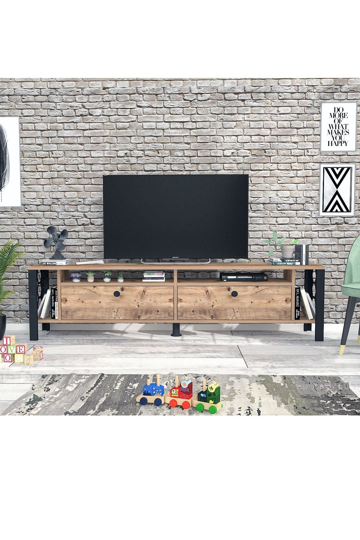 Wood'n Love Luna 160 Cm Tv Ünitesi - Atlantik Çam / Siyah 2