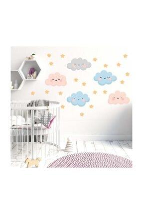 KT Decor Bulutlar Ve Yıldızlar Duvar Sticker Seti