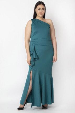 Şans Kadın Yeşil Volan Detaylı Tek Omuz Abiye Elbise 65N15477