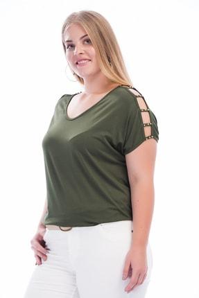 Şans Kadın Haki Omuz Dekolteli İnci Detaylı Viskon Bluz 65N15453