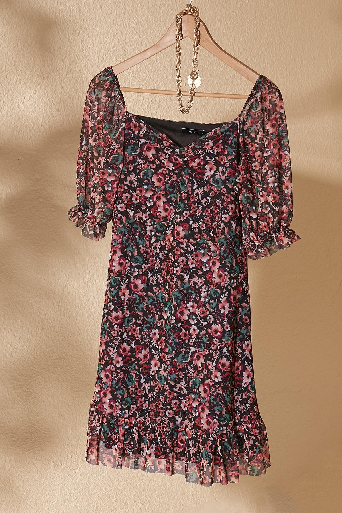 TRENDYOLMİLLA Çok Renkli Çiçek Desenli Tül Örme Elbise TWOSS20EL1690 2