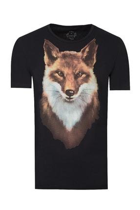 Twn Siyah Renk Erkek  T-shirt (Slim Fit)