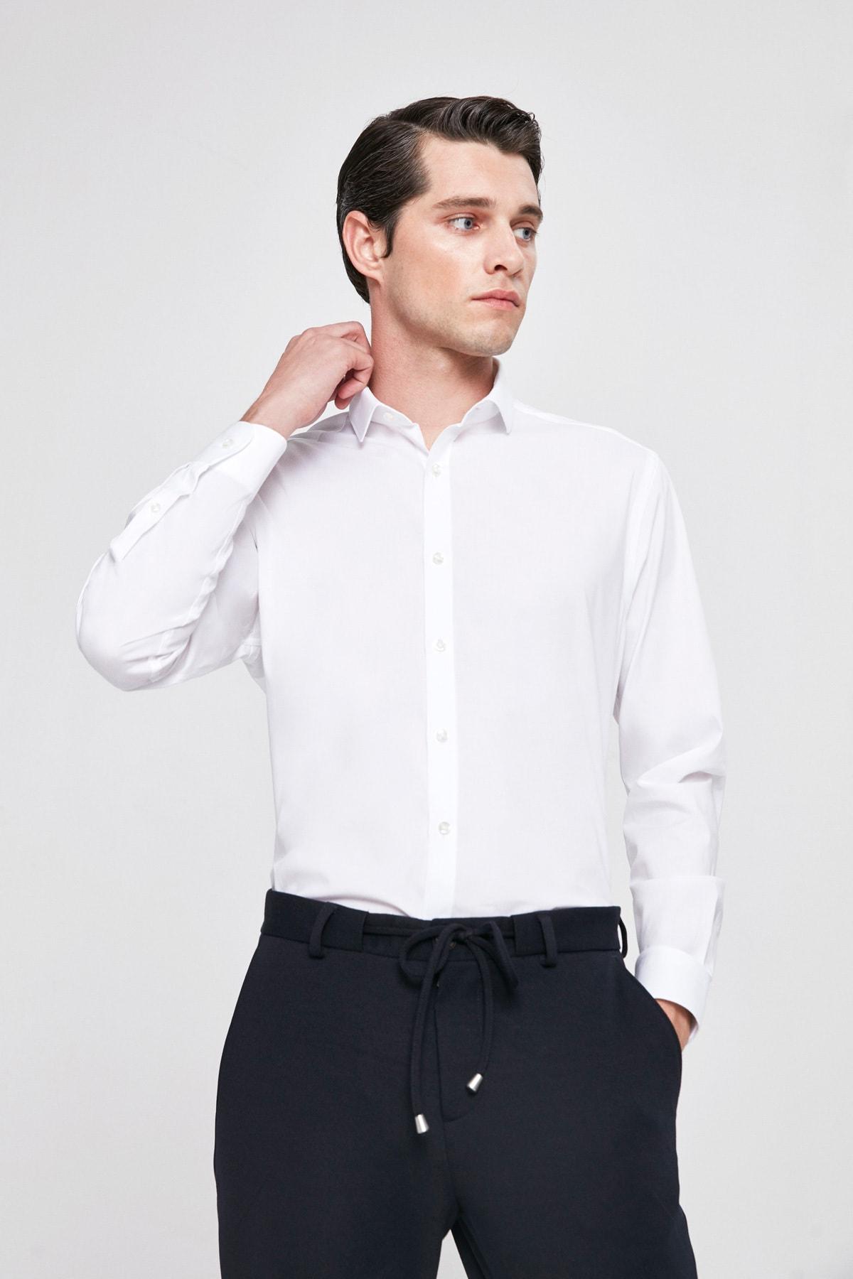 Twn Beyaz Renk Erkek  Gömlek (Slim Fit) 1