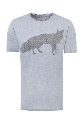 Twn Gri Renk Erkek  T-shirt (Slim Fit)