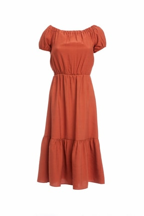 DeFacto Kadın Bordo Regular Fit Dokuma Elbise R2022AZ.20SM.BR42