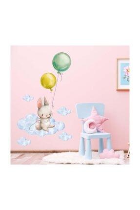 KT Decor Balonlu Tavşan Duvar Sticker Seti