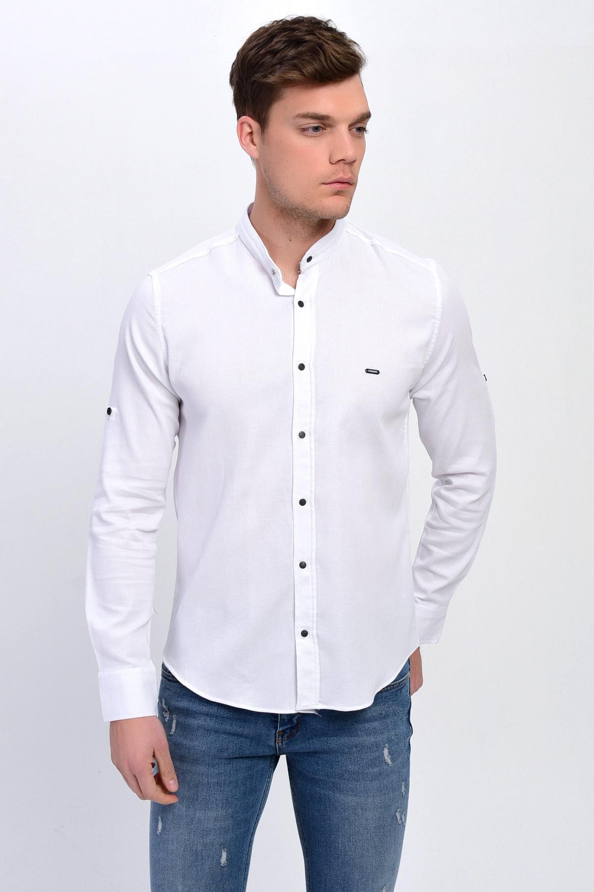 DYNAMO Erkek Beyaz Hakim Yaka Çıtçıtlı Slim Fit Likralı Gömlek 2