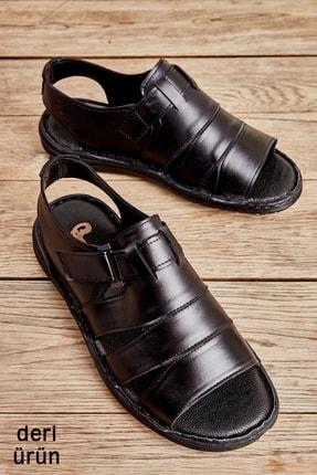 Bambi Hakiki Deri Siyah Erkek Sandalet L1501600203