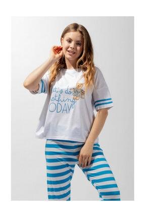 Katia&Bony Blue College Sweet Bear Kadın Pijama Takım - Mavi/beyaz