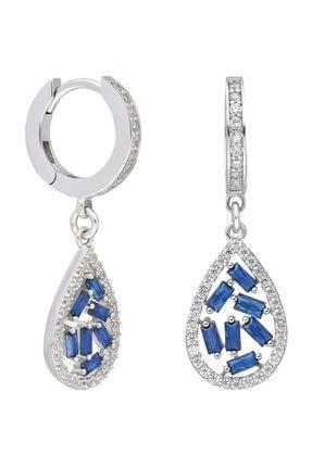 Chavin Baget Mavi Taşlı Rodyum Gümüş Bayan Küpe Ef73by