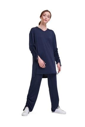 Mizalle Kadın Lacivert Kolu İpli Bluz